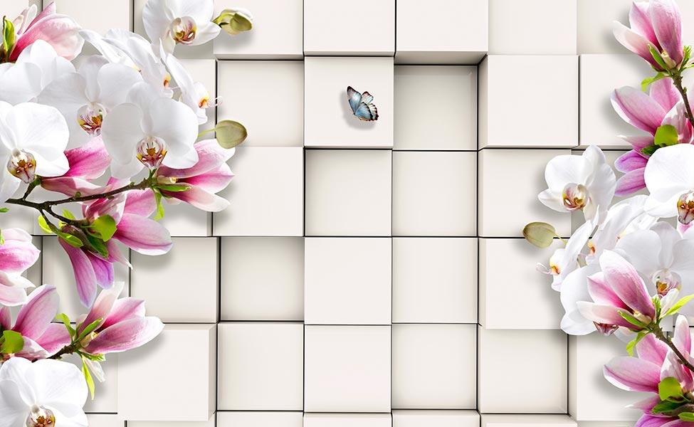 Фотообои 3д цветы -1264635678
