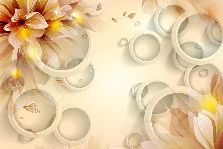Фотообои 3д цветы 55436743226
