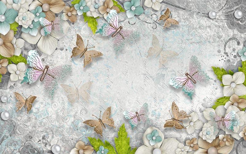 фотообои бабочки цветы 756433478