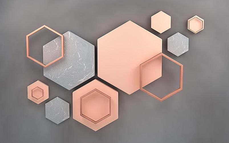 Фотообои 3д шестиугольник 1728300600