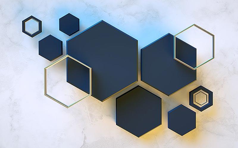 Фотообои 3д шестиугольник 1743421400