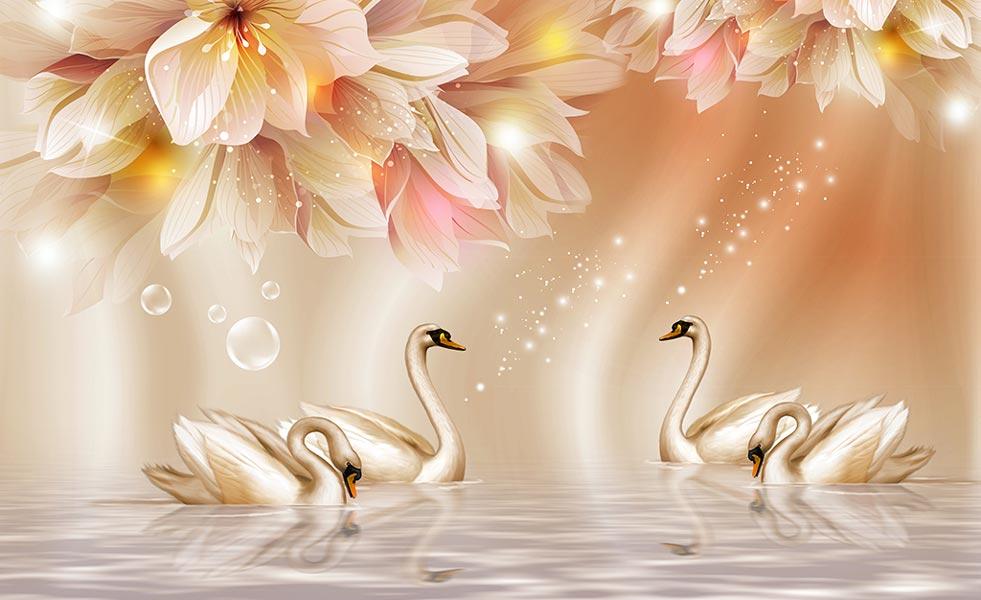 Фотообои 3д лебеди 036592629