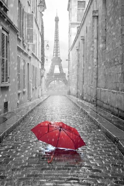 Париж и красный зонт 192952718