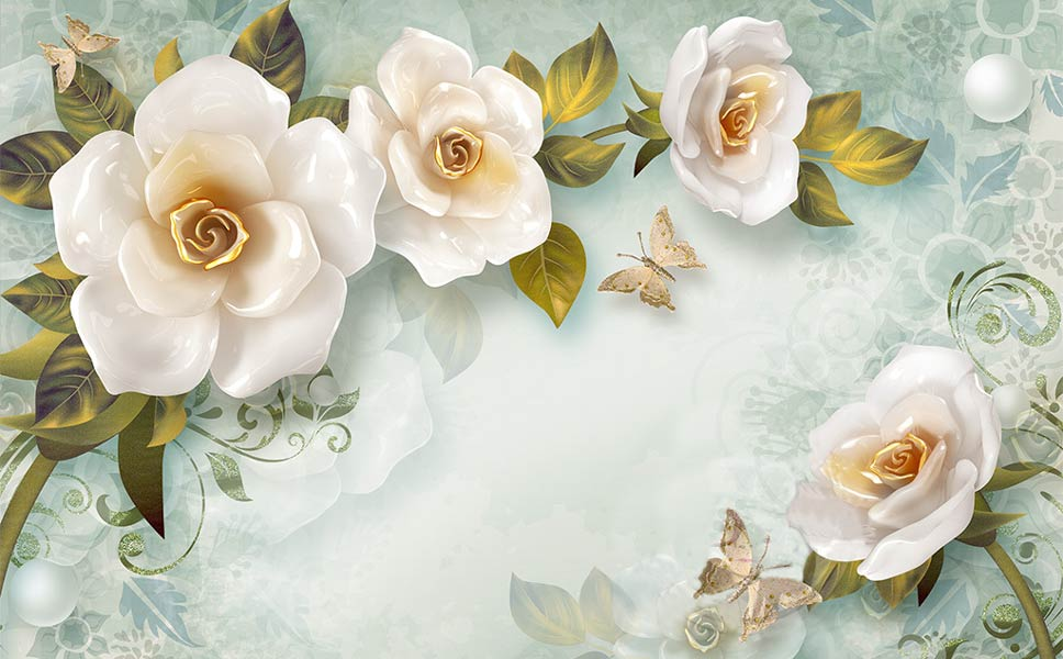 Фотообои 3д цветы 3793794356