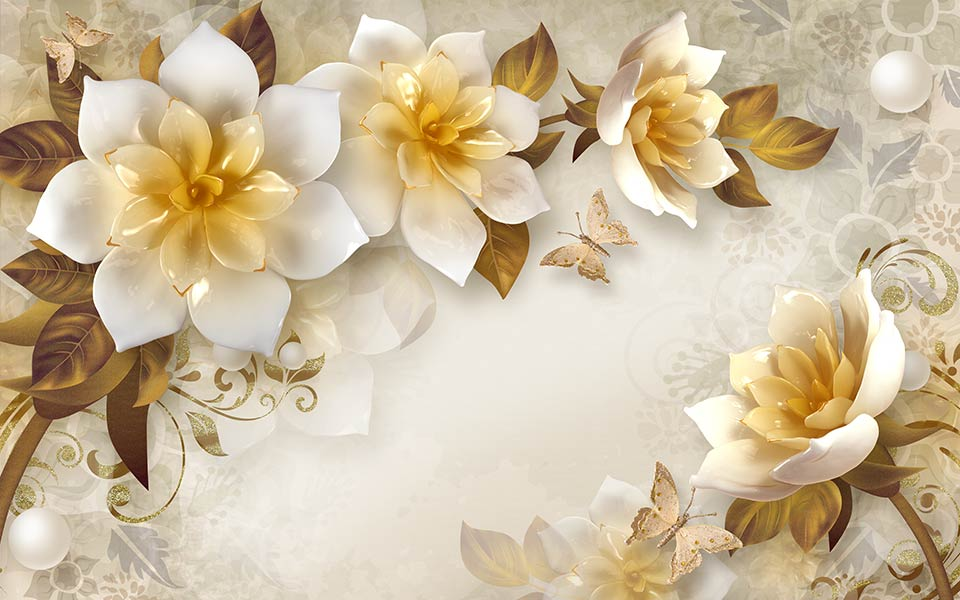 Фотообои 3д цветы 8454378026