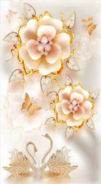 Фотообои 3д цветы 2454734124
