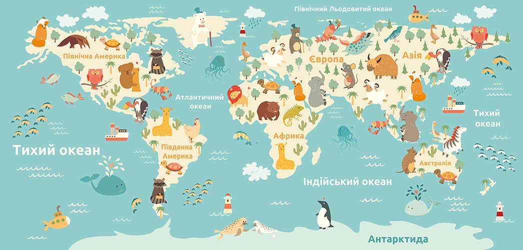фотообои Карта детская Українська 338165603_2