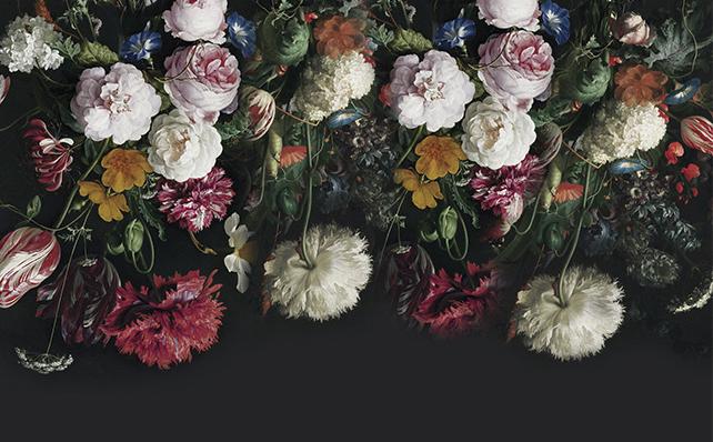 фотошпалери квіти на чорному фоні