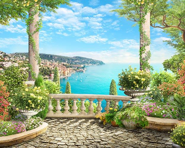 терраса вид с балкона фреска фотообои