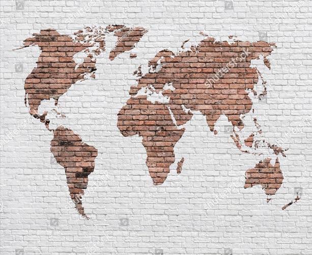 фотообои Карта мира на кирпичной стене фотообои
