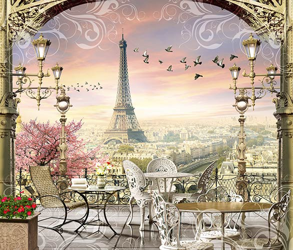 фреска фотообои терраса в Париже