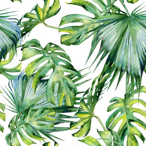 фотообои акварель тропики листья пальм