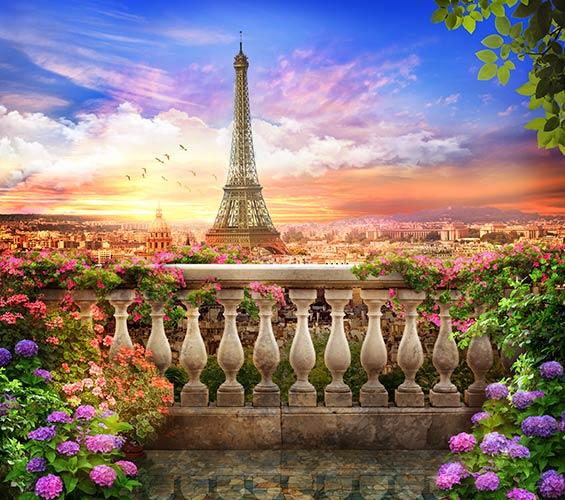 обои на стену вид с балкона на Париж