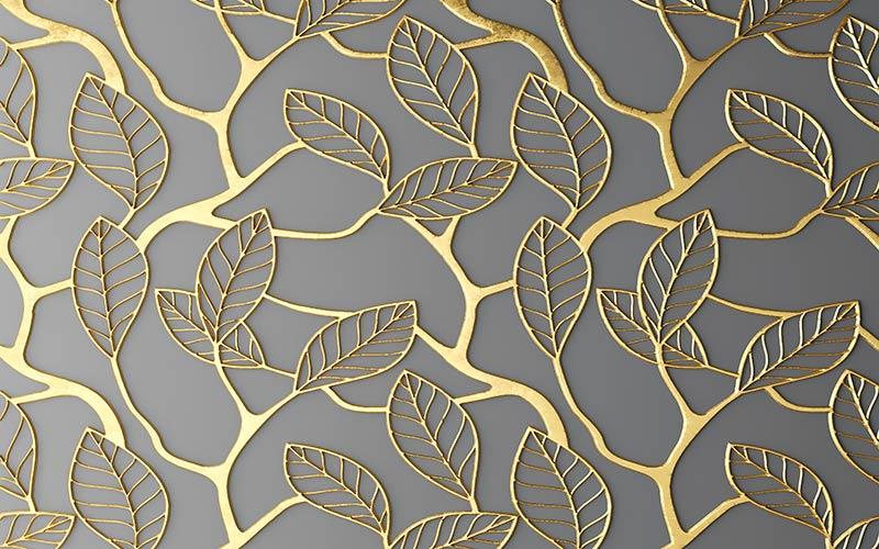 Фотообои 3д золотые листя 702744961