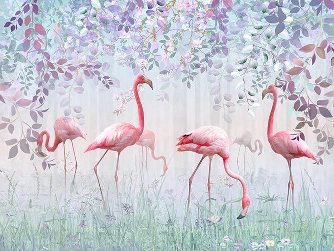 акварель с фламинго природа Фотообои на стену