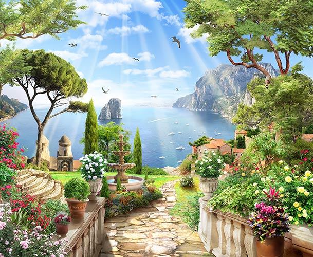 фреска місто біля моря фотошпалери
