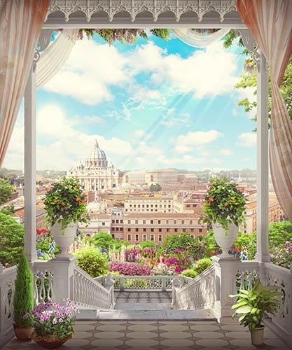 фотошпалери фреска старе місто балкон