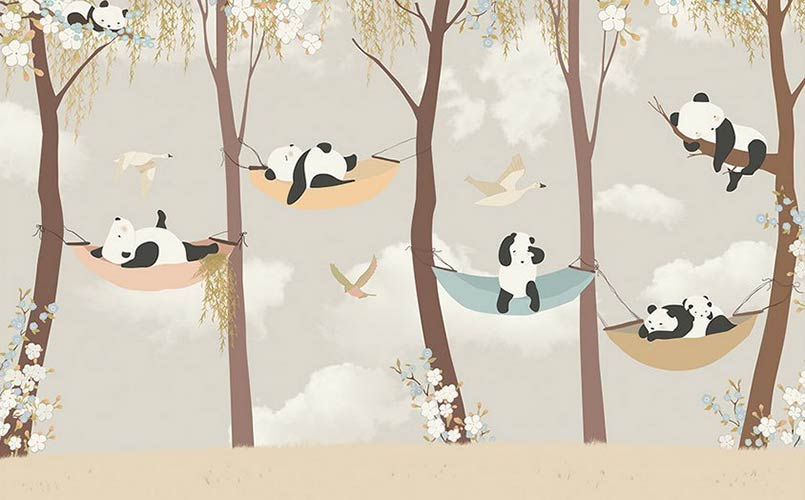 фотошпалери на стіну дитячі панди в  лісі
