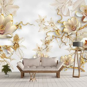 3д обои золотые цветы на стену