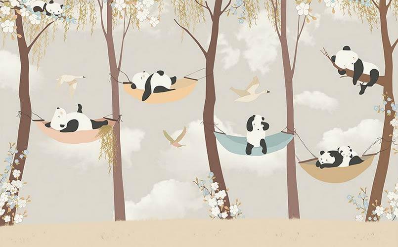 фотообои на стену детские панды в лесу