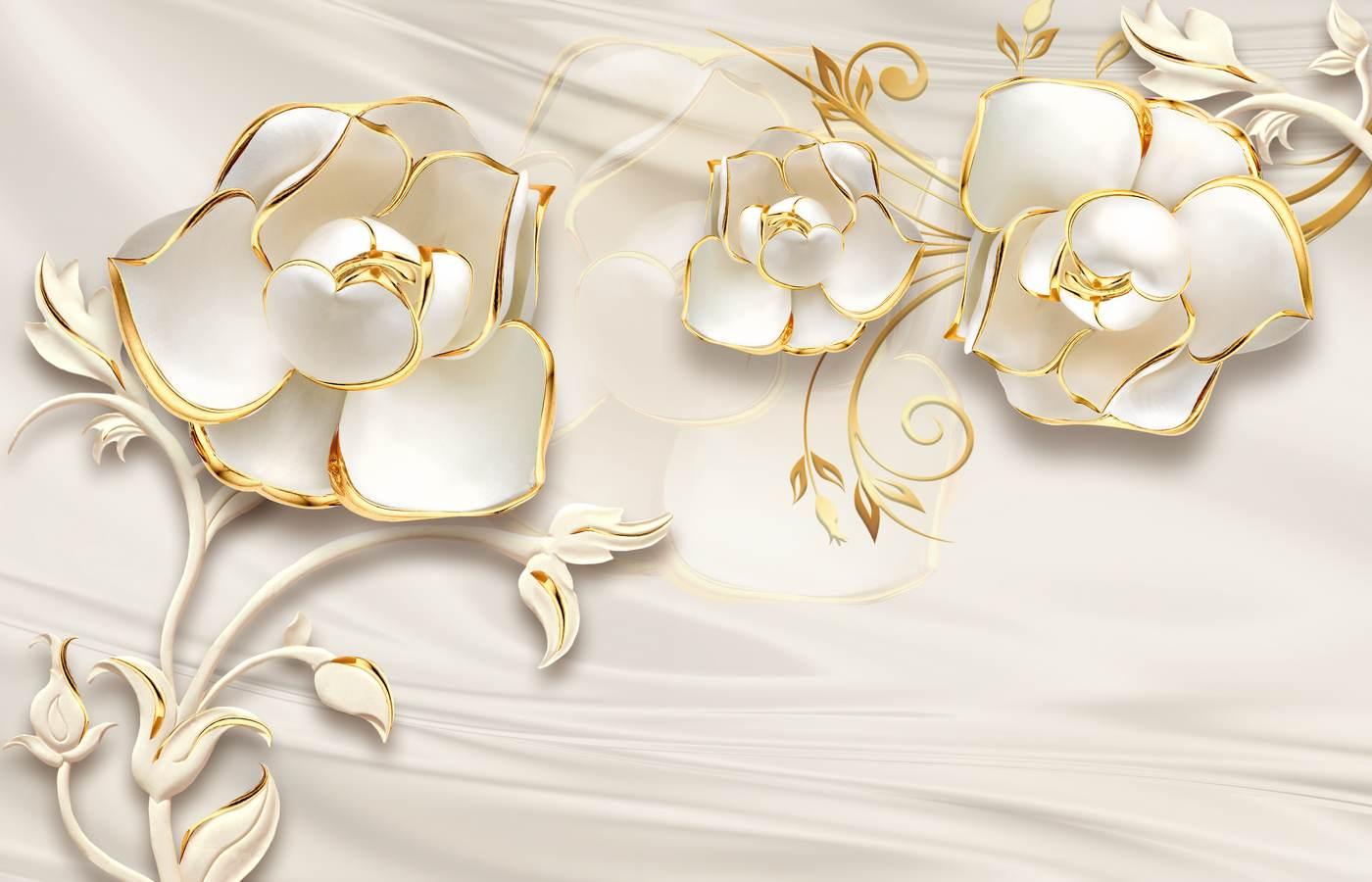 золоті 3д квіти 446756345