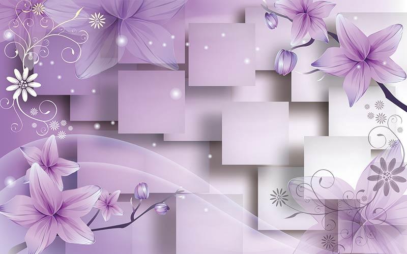 фотообои 3д фиолетовые цветы  546587667