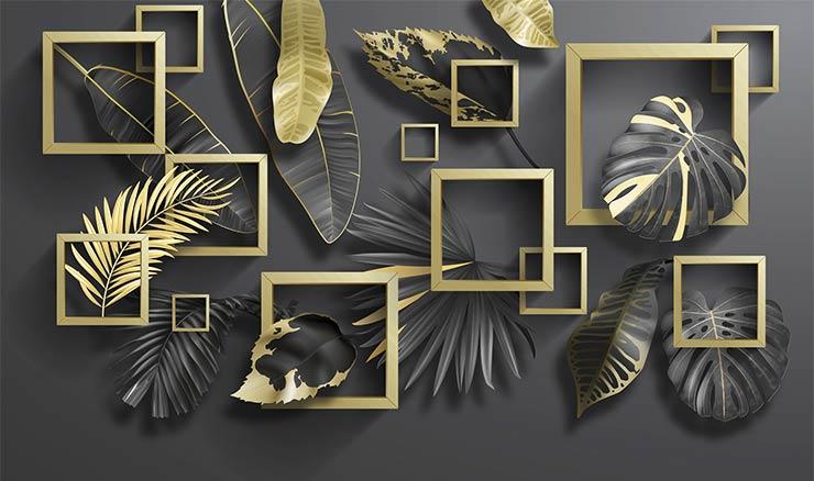 3д золотые листья и квадраты 321321356