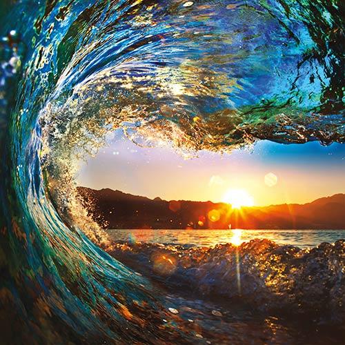 фотошпалери на стіну Морська хвиля і захід сонця 787352841